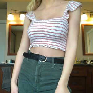 Red and white stripped crop top